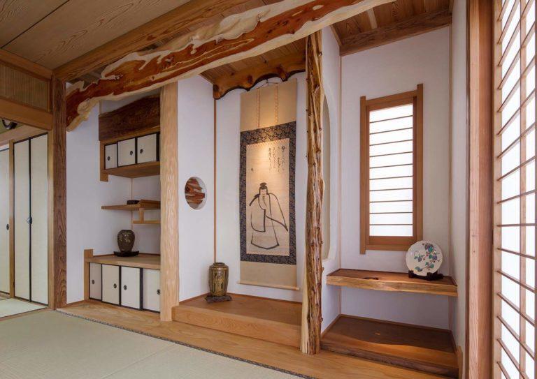 イブキ板、絞丸太、ムロ、杉杢板、杉板